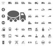 Konkrete LKW-Ikone Gesetzte Ikonen des Transportes und der Logistik Gesetzte Ikonen des Transportes Lizenzfreie Stockfotos