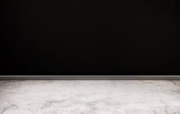 Konkreter Boden und schwarze Wand Stockbild