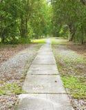 Konkreter Gehweg durch allgemeinen Park Stockfotos