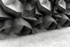 Konkreter polygonaler grauer Wandhintergrund Stockfoto