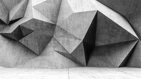 Konkreter polygonaler grauer Wandhintergrund Stockbild