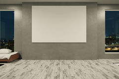 Konkreter Raum mit leerer Fahne Stockbild