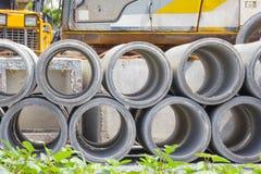Konkretes Abflussrohr in der Baustelle Lizenzfreies Stockbild