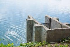 konkretes Abwasser in den Fischfarmen, EntwässerungsBewässerungssystem Lizenzfreie Stockfotografie