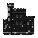 Konkretes Schloss mit Spitzen in Schottland Verstärkung vom alten schottischen Einzelne Ikone Schottlands im schwarzen Artvektor lizenzfreie abbildung