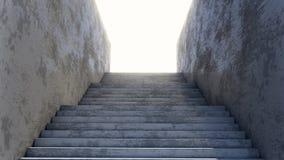Konkretes Treppenhaus, das zum brught Tageslicht führt lizenzfreie abbildung
