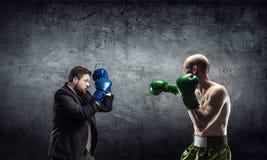 Konkurencyjny duch w biznesie Mieszani środki zdjęcie stock