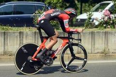 Konkurent Dylan Teuns przy wysoką prędkością przy Giro 2017, Mediolan Fotografia Royalty Free