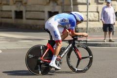 Konkurent Steve Morabito przy wysoką prędkością przy Giro 2017, Mediolan Fotografia Stock