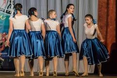 Konkurrens av den koreografiska kollektivdansen av liv i staden av Kondrovo av den Kaluga regionen i Ryssland i 2016 Arkivbild