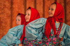 Konkurrens av den koreografiska kollektivdansen av liv i staden av Kondrovo av den Kaluga regionen i Ryssland i 2016 Royaltyfria Bilder