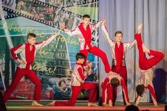 Konkurrens av den koreografiska kollektivdansen av liv i staden av Kondrovo av den Kaluga regionen i Ryssland i 2016 Royaltyfri Foto