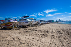 Konkurrens Durban för fiskeSkida-fartyg strand Fotografering för Bildbyråer