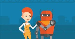 Konkurrens mellan roboten och människan royaltyfri illustrationer