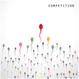 Konkurrens- och spermasymbol, affärsidé Arkivfoto
