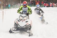 konkurrens tävlings- snowmobile Royaltyfri Foto