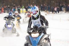 konkurrens tävlings- snowmobile Arkivfoton