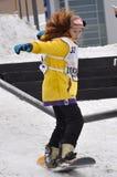 Konkurrenser i en snowboard, Tyumen Arkivfoto