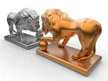 Konkurrenskraftigt stridbegrepp - lejon Royaltyfri Bild
