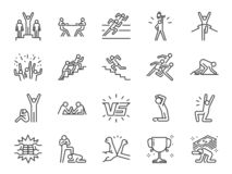 Konkurrenssymbolsuppsättning Inklusive symboler som kontra, konkurrenter, lek, konkurrenskraftigt, rivaliserande och mer royaltyfri illustrationer