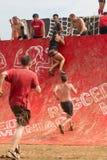 Konkurrentförsök att klättra väggen i extremt lopp för hinderkurs Arkivbilder