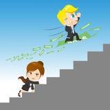 Konkurrera för tecknad filmillustrationbusinesspeople stock illustrationer