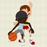 Konkurrierende Filz-Basketball-Spieler Lizenzfreies Stockbild