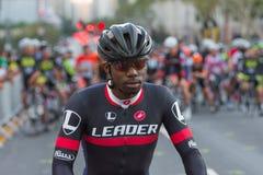 Konkurrierender Radfahrer Stockfoto