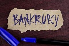 Konkurs för handskrifttexthandstil Går det menande företaget för begreppet under finanskris bankrutten med att gå ned försäljning Arkivfoton
