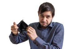 Konkurs- och obeståndbegrepp Den unga mannen har inga pengar Arkivbilder