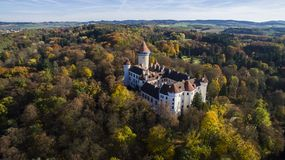 Konopiště - aerial drone view of czech castle. Konopiste. Aerial drone skyline view of medieval castle. Located in Czech republic. It is very popular royalty free stock photography