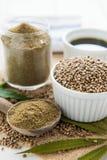 Konopiani ziarna, konopiany olej i konopie mąka, Obraz Stock