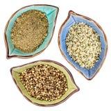 Konopiani ziarna, serca i proteina proszek, zdjęcia stock