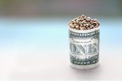Konopiani ziarna w jeden dolar baryłce Fotografia Stock