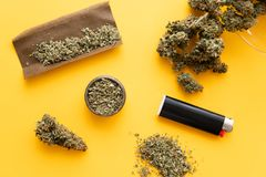 Konopiany legalisation Stępia i zapalniczki Zielarskiego ostrzarza Świeży marihuana CBD i THC na pączkach w marihuanach Odgórny w obraz royalty free