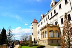 Konopiste Castle. Panorama of the Konopiste Castle over blue sky during the spring day Stock Image