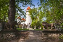 Konopiste, Czech Republic. Summer park. Konopiste, Czech Republic. The castle was established in the 1280 and renovated between 1889 and 1894 by the architect Stock Image
