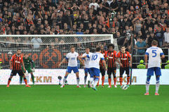 Konoplyanka breaks free kick Royalty Free Stock Photo