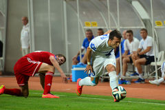 Konoplyanka Yevgen falls on the field after the collision Stock Photography