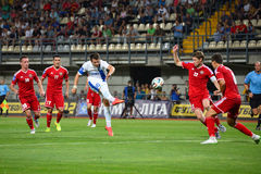 Konoplyanka Yevgen kicked the ball Stock Images