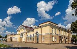 Konotop järnvägsstation i Ukraina royaltyfri bild