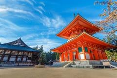 Konpon Daito Pagoda at Danjo Garan Temple in Koyasan area in Wakayama Royalty Free Stock Photo