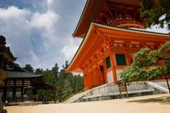 Konpon Daito Pagoda in Mount Koya, Japan. Konpon Daito: two-storied Pagoda Vermillion in Koya, Japan Royalty Free Stock Photos