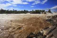 Konprapeng water fall or mekong river in champasak southern of l Royalty Free Stock Photo