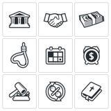 Konsekwencje kredytowe ikony również zwrócić corel ilustracji wektora Zdjęcie Royalty Free