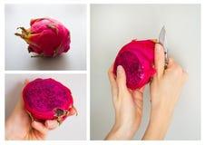 Konsekwentny proces obieranie smoka egzotyczna owoc odizolowywająca na popielatym tle Zdjęcia Stock