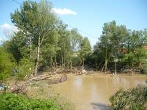 Konsequenz der nicht alten Flut des Flusses Stockbild