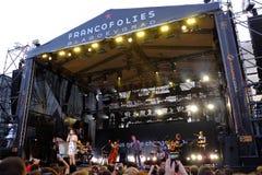 Konsert av den populal franska sångaren Zaz på den Francofolies festivalen i Blagoevgrad, Bulgarien 18 06 2016 Arkivfoton