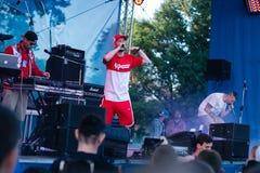 Konsert av den ukrainska rapkonstnären Yarmak May 27, 2018 på festivalen i Cherkassy, Ukraina Royaltyfri Bild