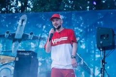 Konsert av den ukrainska rapkonstnären Yarmak May 27, 2018 på festivalen i Cherkassy, Ukraina Royaltyfri Foto
